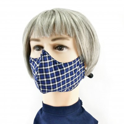 Gesichtsmaske - Kariert blau