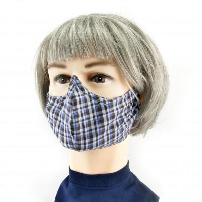 Gesichtsmaske - kariert blau/grau