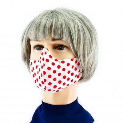 Gesichtsmaske - Gepunktet weiss mit rot