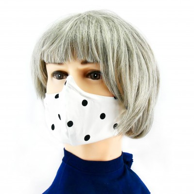 Gesichtsmaske - Gepunktet weiss mit Schwarz