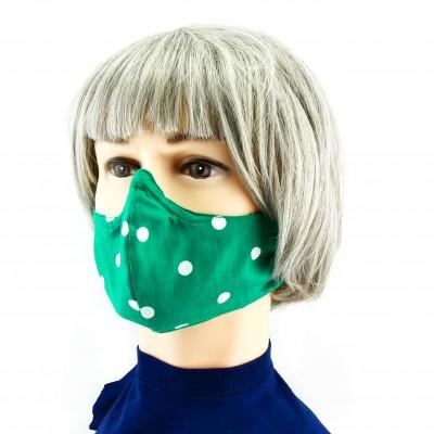 Gesichtsmaske - Gepunktet Grün weiss