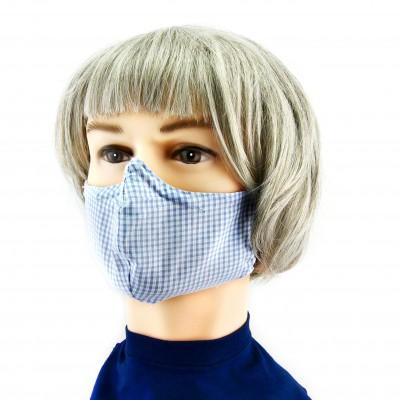 Gesichtsmaske - Kariert weiss/blau