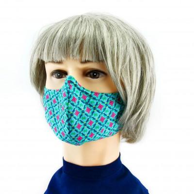 Gesichtsmaske - Grün mit blau/rosa Blumen