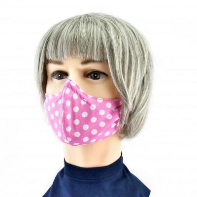 Gesichtsmaske - Gepunktet rosa weiss