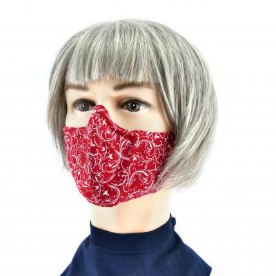 Gesichtsmaske - Rot weisse Blumen