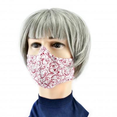 Gesichtsmaske - Weiss mit roten Blumen