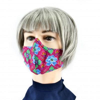 Gesichtsmaske - Lila mit Blumen